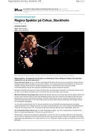 Regina Spektor på Cirkus, Stockholm - BOJJE.SE
