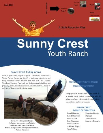 Fall 2011 Newsletter – Click to Download - Sunny Crest Youth Ranch
