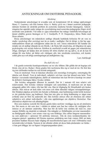 ANTECKNINGAR OM ESOTERISK PEDAGOGIK - Livskunskap