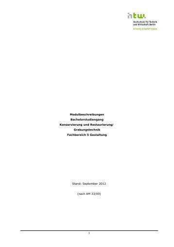 Modulbeschreibungen — gültig gemäß AM 33/2009 [PDF]