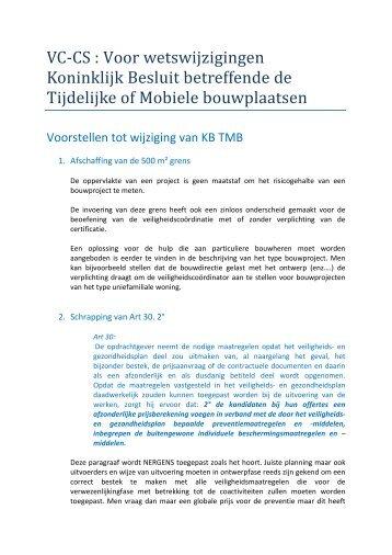 VC-CS : Voor wetswijzigingen Koninklijk Besluit betreffende de ...