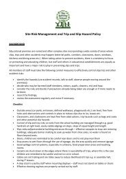 Site Risk Management and Trip and Slip Hazard Policy