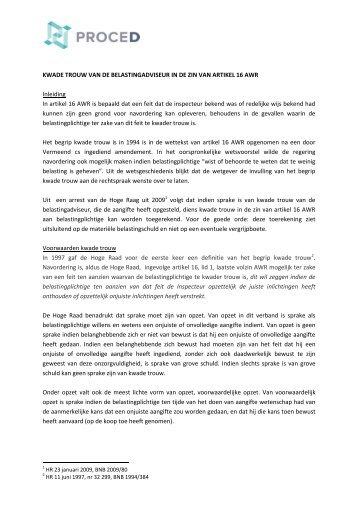 KWADE TROUW VAN DE BELASTINGADVISEUR IN DE ... - ProceD