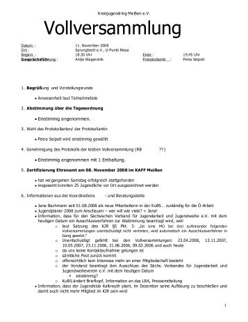 Protokoll der Vollversammlung vom 12.11.2008 - Kreisjugendring ...