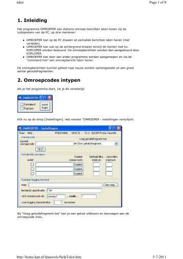 1. Inleiding 2. Omroepcodes intypen