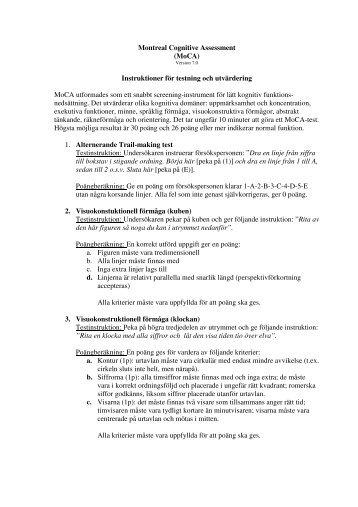 Instruktioner - The Montreal Cognitive Assessment