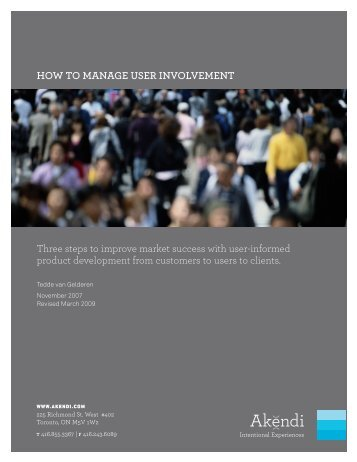 How to Manage User Involvement in Product Experience ... - Akendi