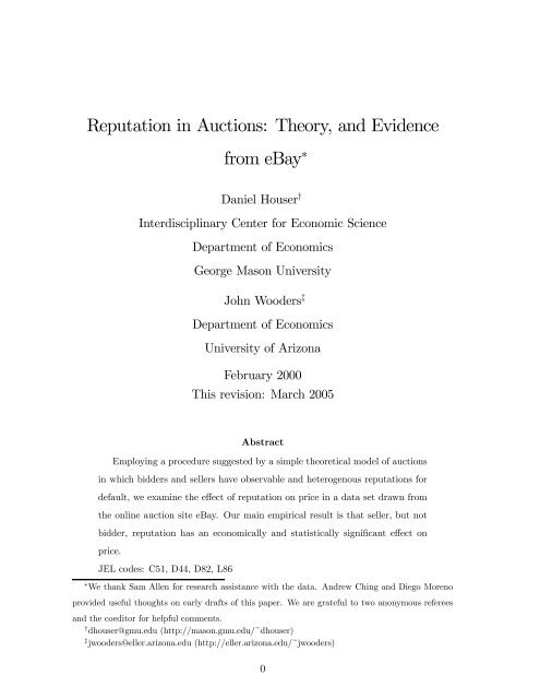 Reputation In Auctions Theory And Evidence From EBay