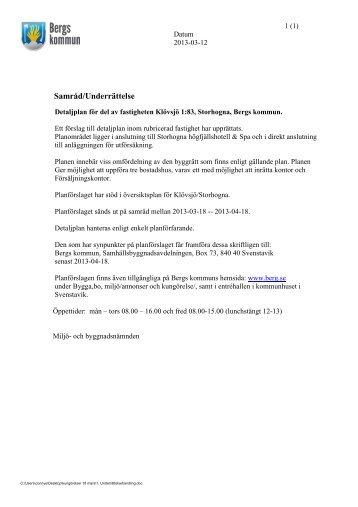 Detaljplan för fastigheten Klövsjö 1:83, Storhogna, Bergs kommun