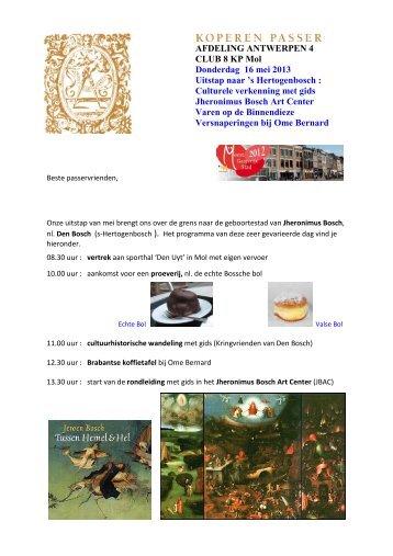 Uitnodiging en programma Den Bosch - Koperen Passer vzw