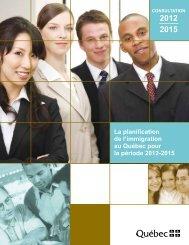 La planification de l'immigration au Québec pour la période 2012 ...