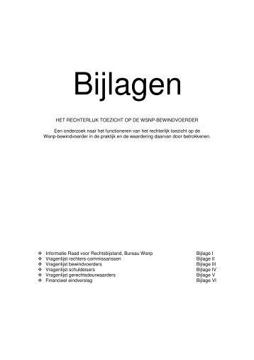 Het rechterlijk toezicht (Bijlagen) - Wsnp - Raad voor Rechtsbijstand