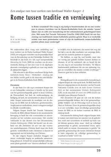 Rome tussen traditie en vernieuwing (pdf) - Protestants Nederland