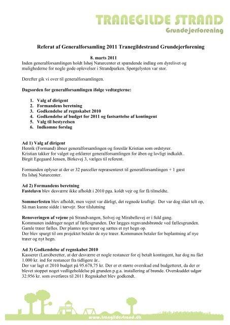 2011 - Tranegildestrand Grundejerforening