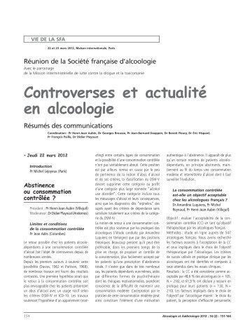 Controverses et actualité en alcoologie - SFA