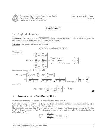 Ayudant´ıa 7 1. Regla de la cadena 2. Teorema de la función impl´ıcita