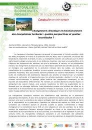 Changement climatique et fonctionnement des écosystèmes herbacés