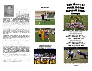 Phil Dorn's Football Camp Info - Bishop Verot Catholic High School