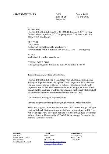 ARBETSDOMSTOLEN DOM Dom nr 44/11 2011-05-25 Mål nr B 30 ...