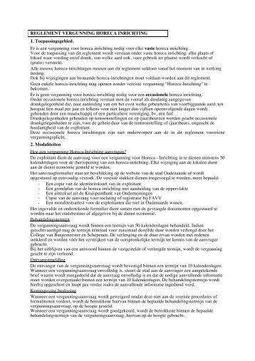 Vergunning horeca inrichting - Stad Oudenaarde