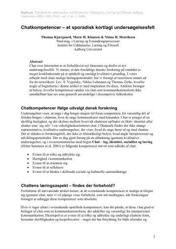 Chatkompetencer – et sporadisk kortlagt undersøgelsesfelt