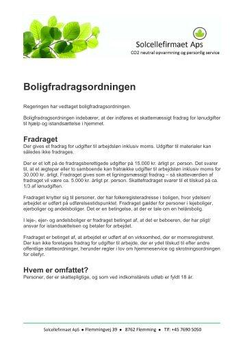 Boligfradragsordningen - Andresens Bioenergi A/S