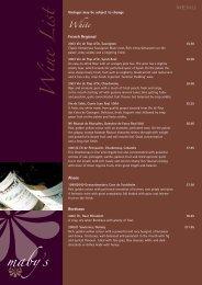 Wine List - Mabys