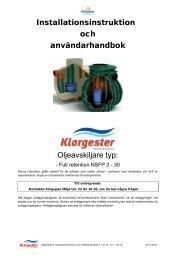 Klargester Oljeavskiljare Installation och manual