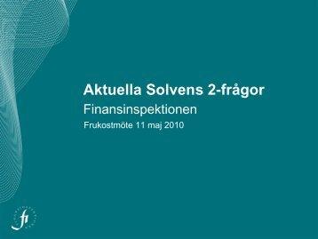 Aktuella Solvens 2-frågor - Finansinspektionen