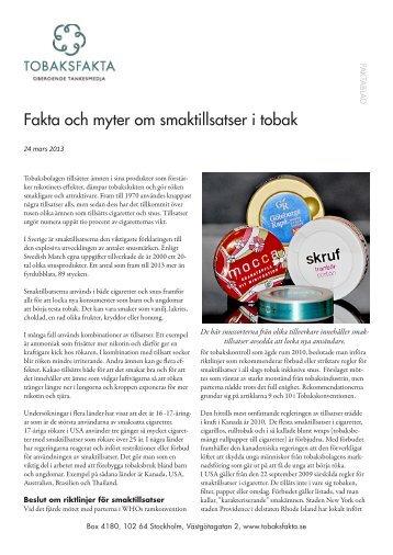 Om smaktillsatser i tobak - Tobaksfakta