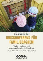 RIKSKONFERENS FÖR FAMILJEDAGHEM - Gothia Förlag