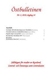 Nr 2, juli 2010 - Sällskapet för studier av Ryssland, Central