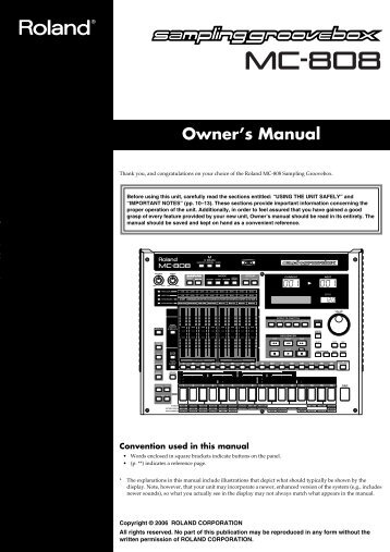 Owner's Manual - Roland US