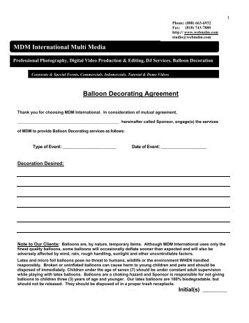 MDM International Multi Media Balloon Decorating Agreement