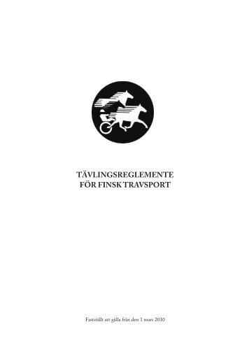 tävlingsreglemente för finsk travsport - Suomenhevonen 100 vuotta