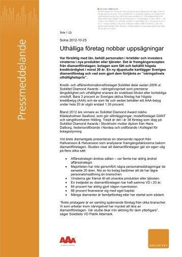 Uthålliga företag nobbar uppsägningar 2012-10-25 - Soliditet