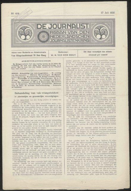 27 Juli 1926 Van Sllngelandtstraat 70 Den Haag Behandeling van ...