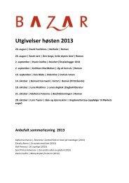 Utgivelser høsten 2013 - Bazar Forlag