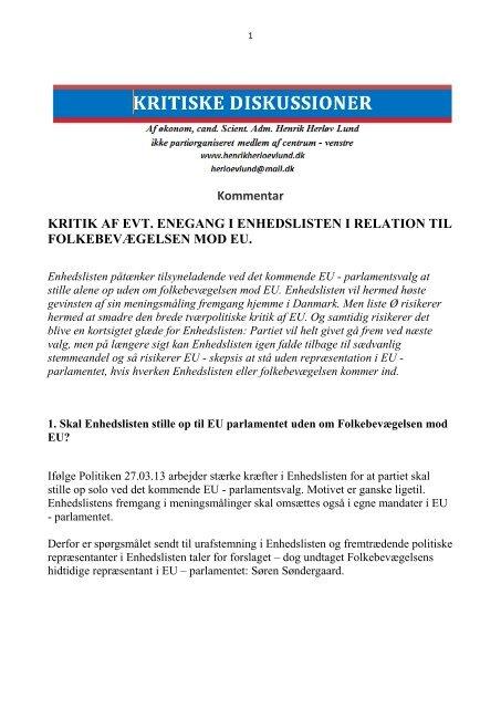 kritik af evt. enegang fra enhedslisten overfor folkebevægelswen ...