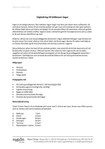 Vägledning till bildboxen Sagor - Nypon förlag