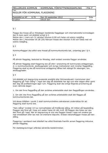 Regler för kommunal flaggning - Mellerud
