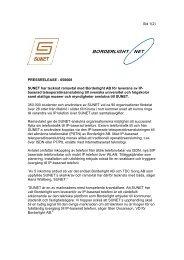 050608 SUNET har tecknat ramavtal med Borderlight AB för ...