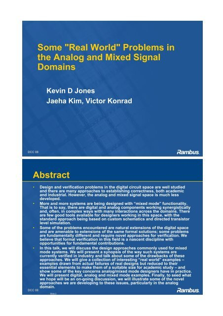 """""""Real World"""" Problems in the Analog and Mixed Signal Domains"""