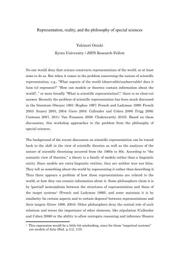 Representation, reality, and the philosophy of special sciences