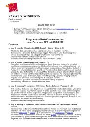 Programma KAV-Vrouwenreizen naar Peru van 12/9 tot 27 ... - Femma