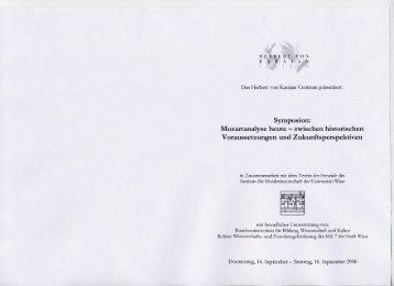 Mozartanalyse heute - Institut für Musikwissenschaft - Universität Wien