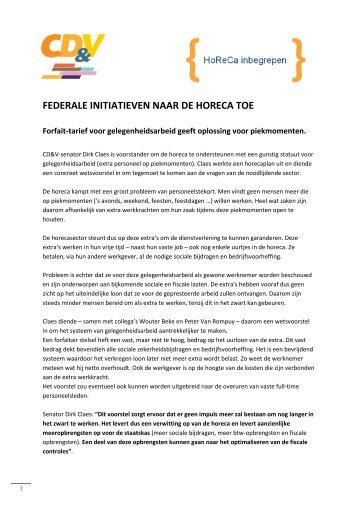 federale initiatieven naar de horeca toe - West-Vlaanderen - CD&V