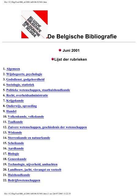 De Belgische Bibliografie Koninklijke Bibliotheek Van België