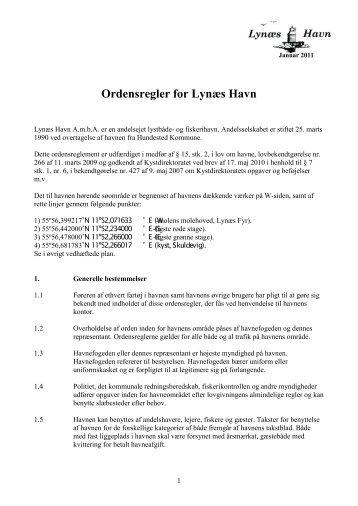 Ordensregler for Lynæs Havn