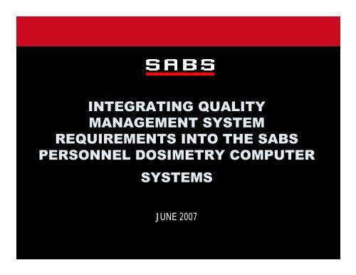 integrating quality management system requirements into the sabs ...